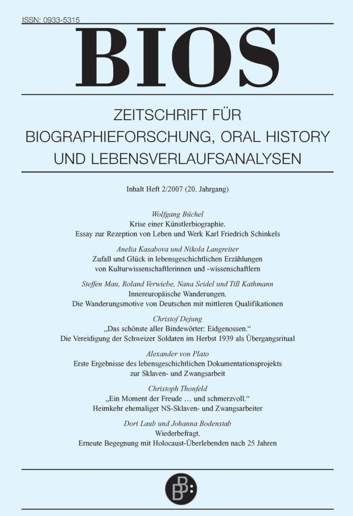 BIOS – Zeitschrift für Biographieforschung, Oral History und Lebensverlaufsanalysen 2-2007: Freie Beiträge