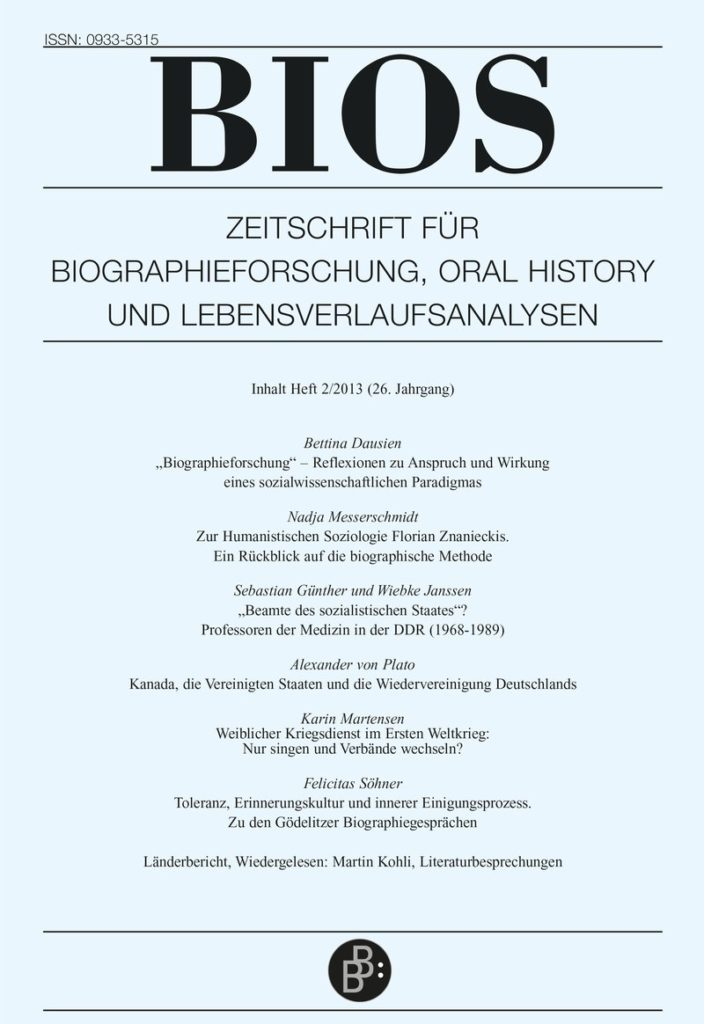 BIOS – Zeitschrift für Biographieforschung, Oral History und Lebensverlaufsanalysen 2-2013: Freie Beiträge