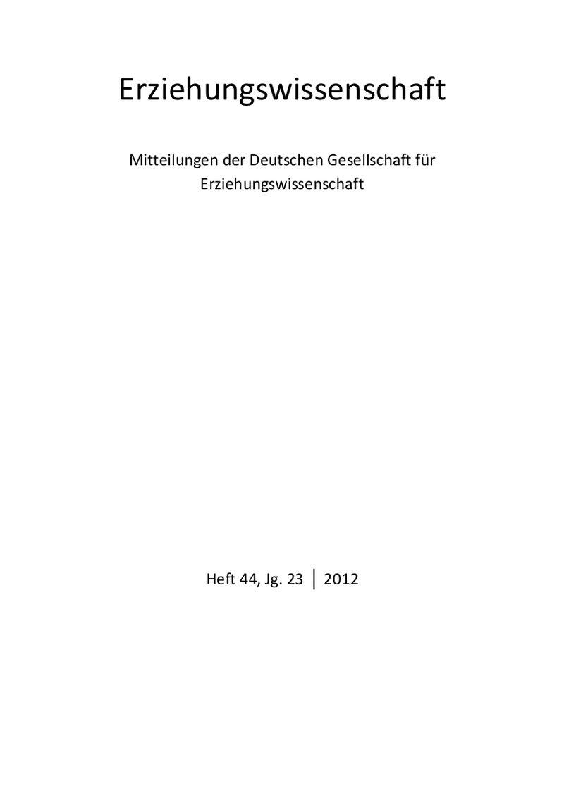 Erziehungswissenschaft 1-2012: Freie Beiträge
