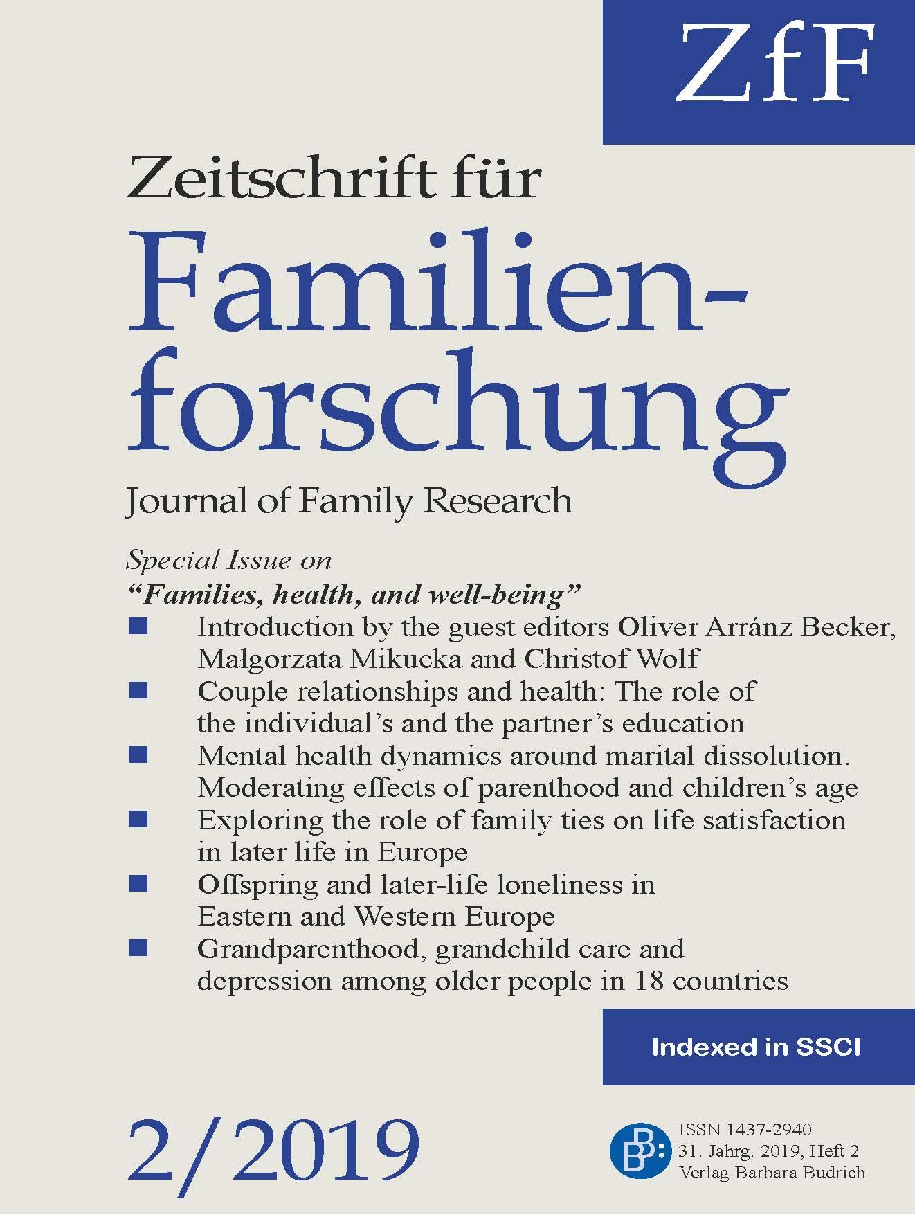 ZfF – Zeitschrift für Familienforschung / Journal of Family Research