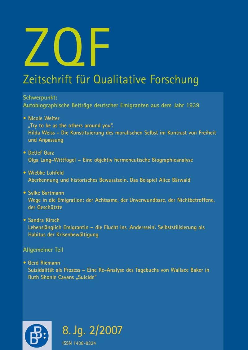 ZQF – Zeitschrift für Qualitative Forschung 2-2007: An alle, die Deutschland vor und während Hitler gut kennen