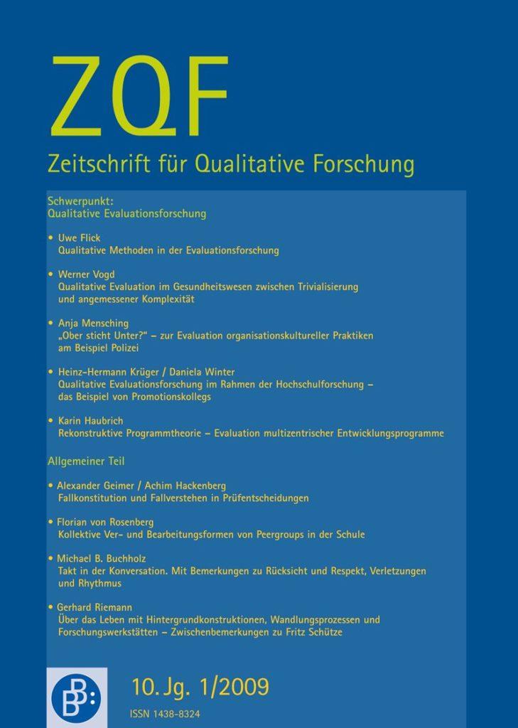 ZQF – Zeitschrift für Qualitative Forschung 1-2009: Qualitative Evaluationsforschung