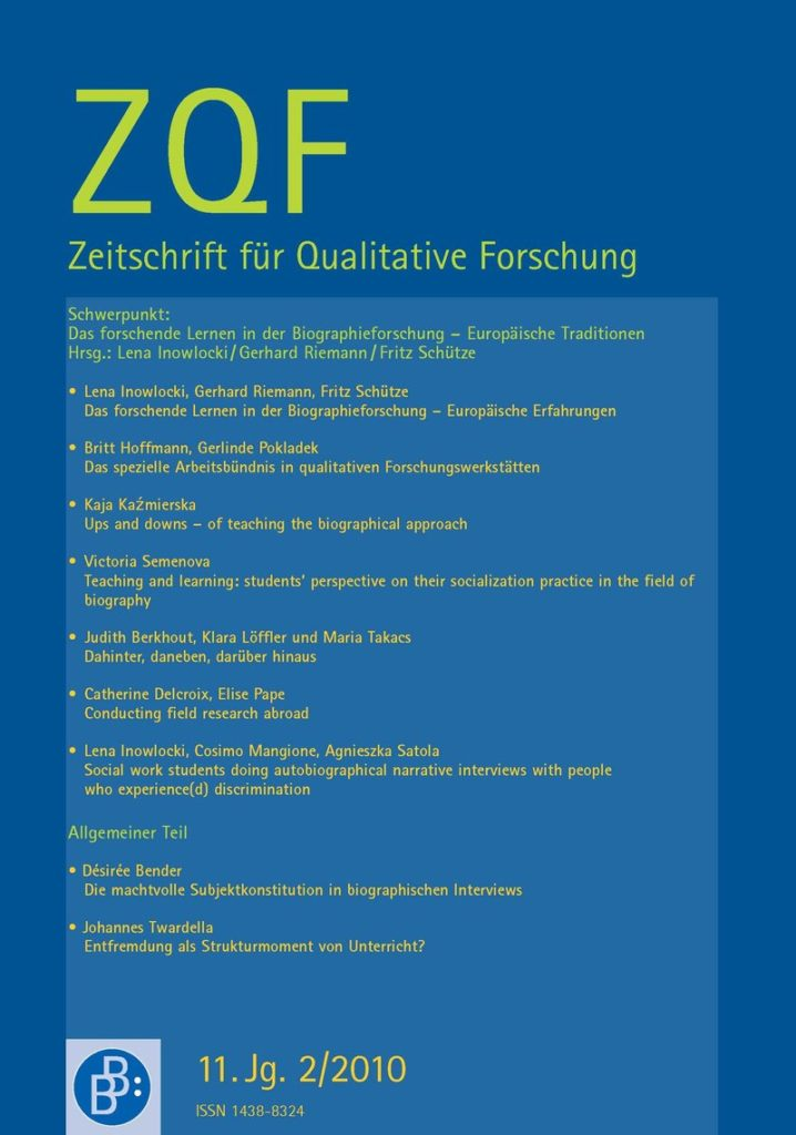 ZQF – Zeitschrift für Qualitative Forschung 2-2010: Das forschende Lernen in der Biographieforschung – Europäische Traditionen