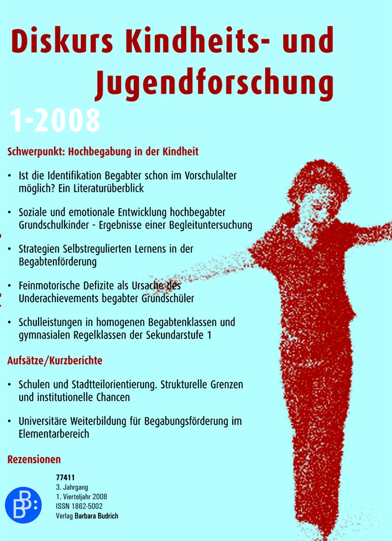 Diskurs Kindheits- und Jugendforschung / Discourse. Journal of Childhood and Adolescence Research 1-2008: Hochbegabung in der Kindheit