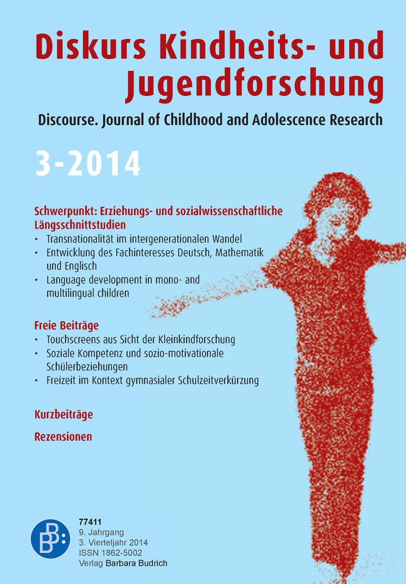 Diskurs Kindheits- und Jugendforschung / Discourse. Journal of Childhood and Adolescence Research 3-2014: Erziehungs- und sozialwissenschaftliche Längsschnittstudien: Befunde und methodische Herausorderungen