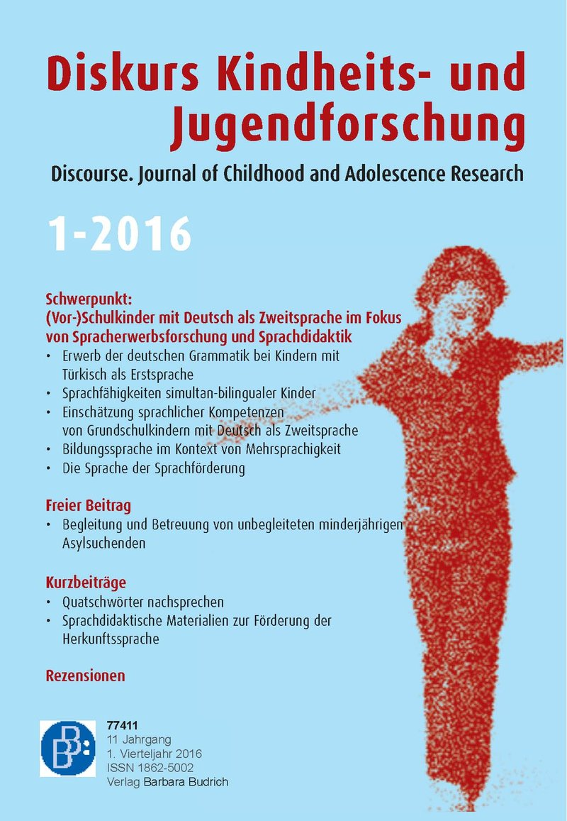 Diskurs Kindheits- und Jugendforschung / Discourse. Journal of Childhood and Adolescence Research 1-2016: (Vor-)Schulkinder mit Deutsch als Zweitsprache im Fokus von Spracherwerbsforschung und -didaktik