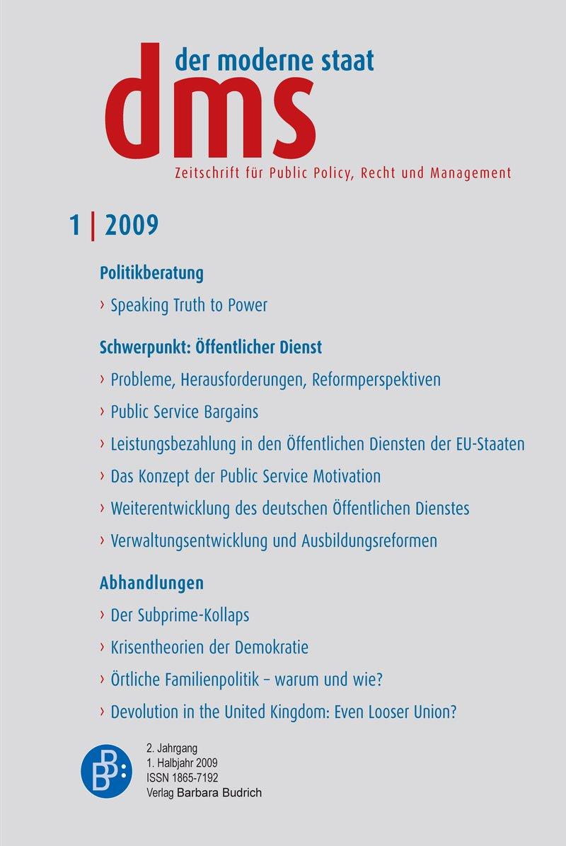 dms – der moderne staat – Zeitschrift für Public Policy, Recht und Management 1-2009: Öffentlicher Dienst