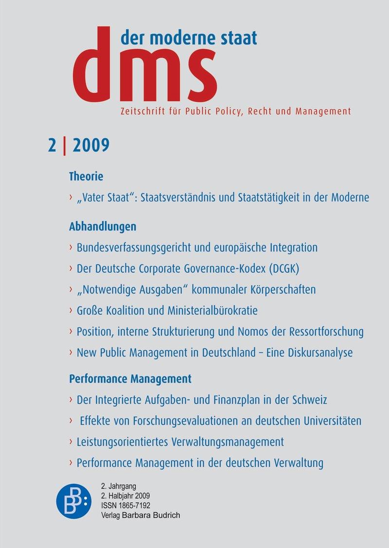 dms – der moderne staat – Zeitschrift für Public Policy, Recht und Management 2-2009: Performance Management