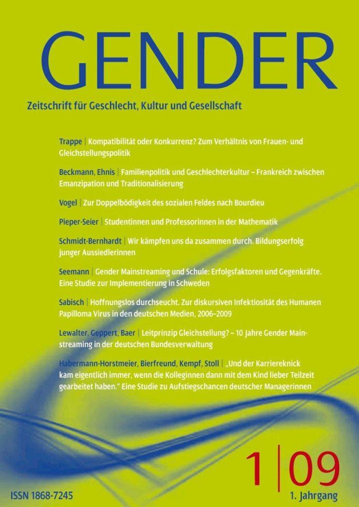 GENDER – Zeitschrift für Geschlecht, Kultur und Gesellschaft 1-2009: Offenes Heft