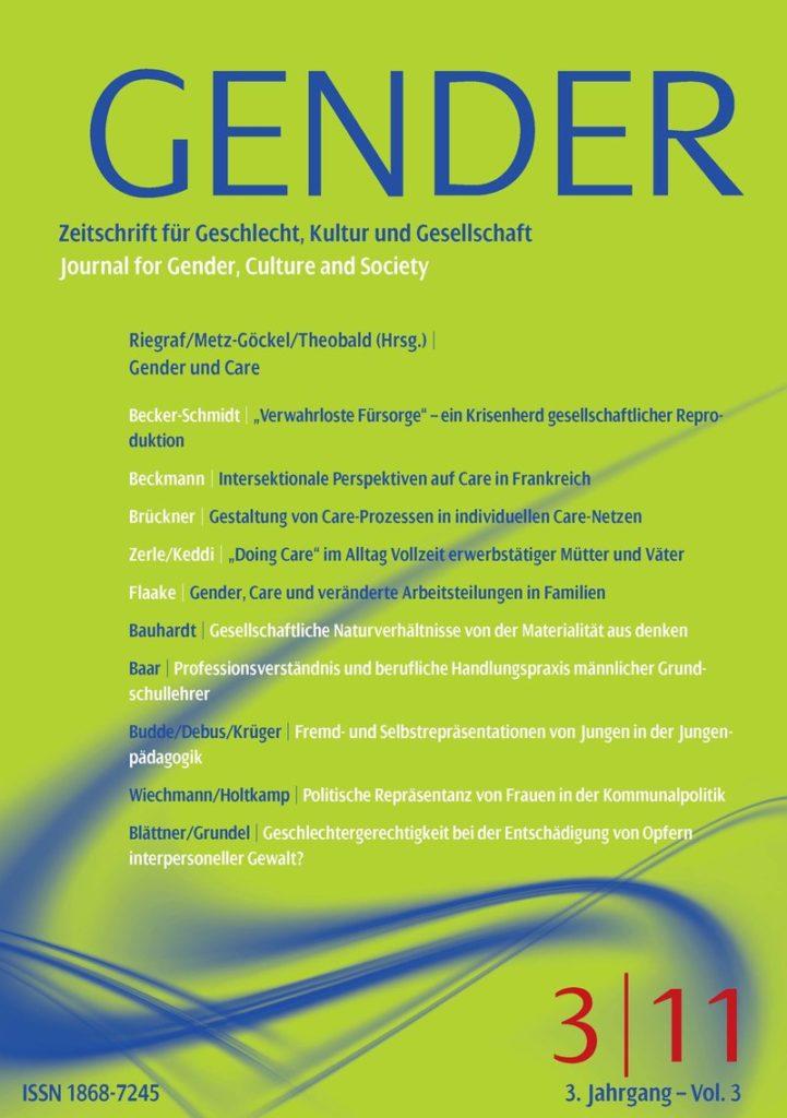 GENDER – Zeitschrift für Geschlecht, Kultur und Gesellschaft 3-2011: Gender und Care