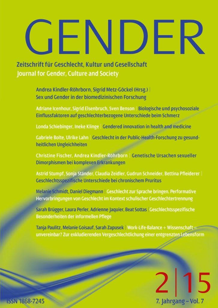 GENDER – Zeitschrift für Geschlecht, Kultur und Gesellschaft 2-2015: Sex und Gender in der biomedizinischen Forschung