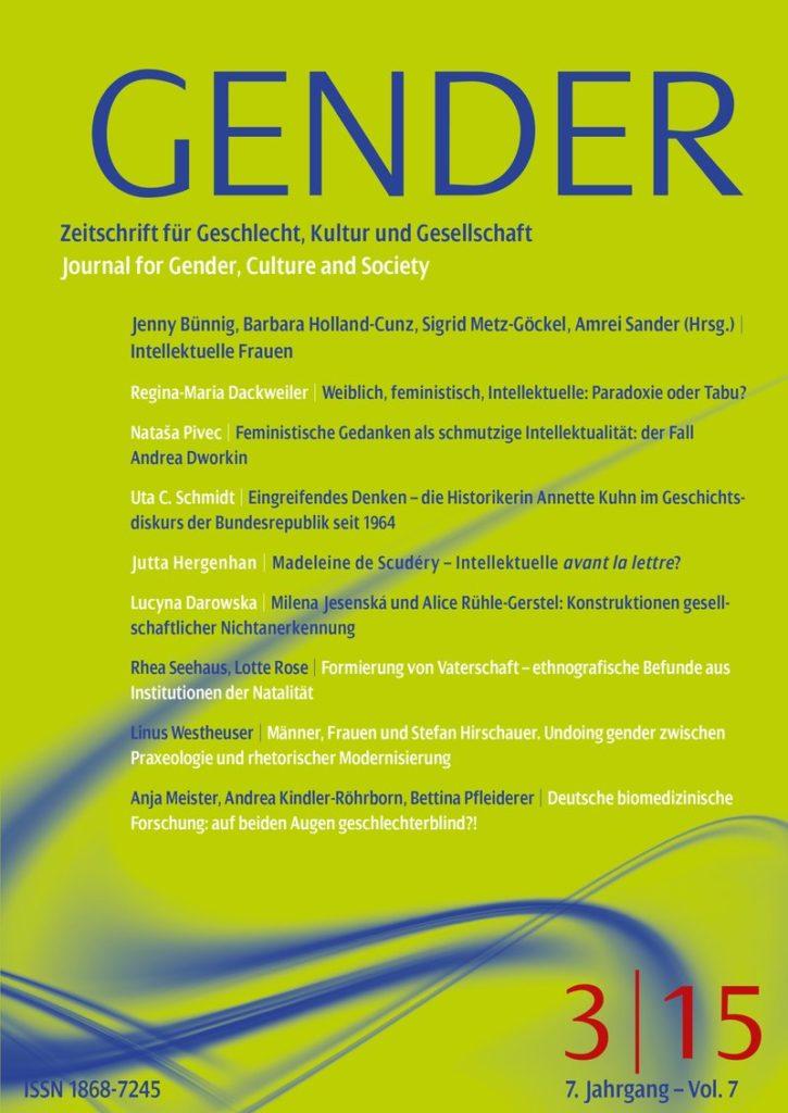 GENDER – Zeitschrift für Geschlecht, Kultur und Gesellschaft 3-2015: Intellektuelle Frauen