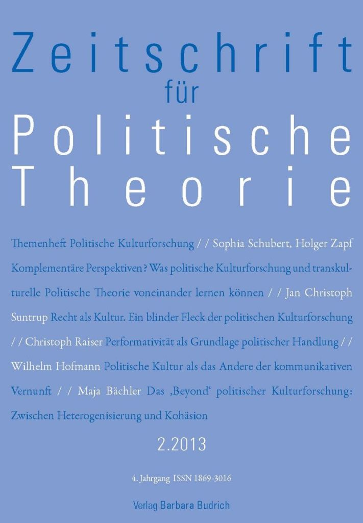 ZPTh – Zeitschrift für Politische Theorie 2-2013: Themenheft Politische Kulturforschung