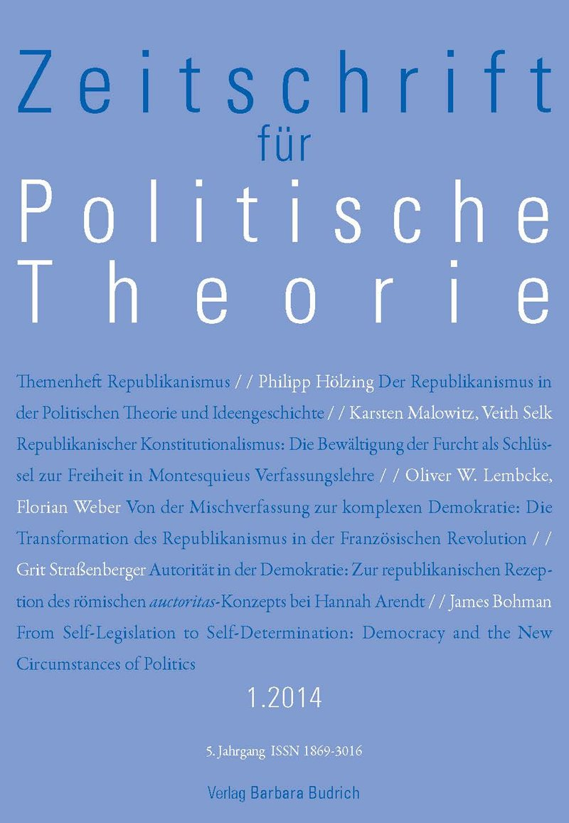 ZPTh – Zeitschrift für Politische Theorie 1-2014: Themenheft Republikanismus