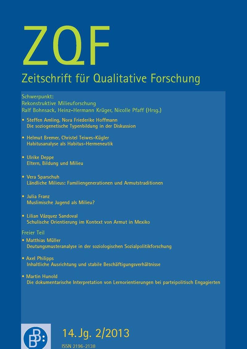 ZQF – Zeitschrift für Qualitative Forschung 2-2013: Rekonstruktive Milieuforschung