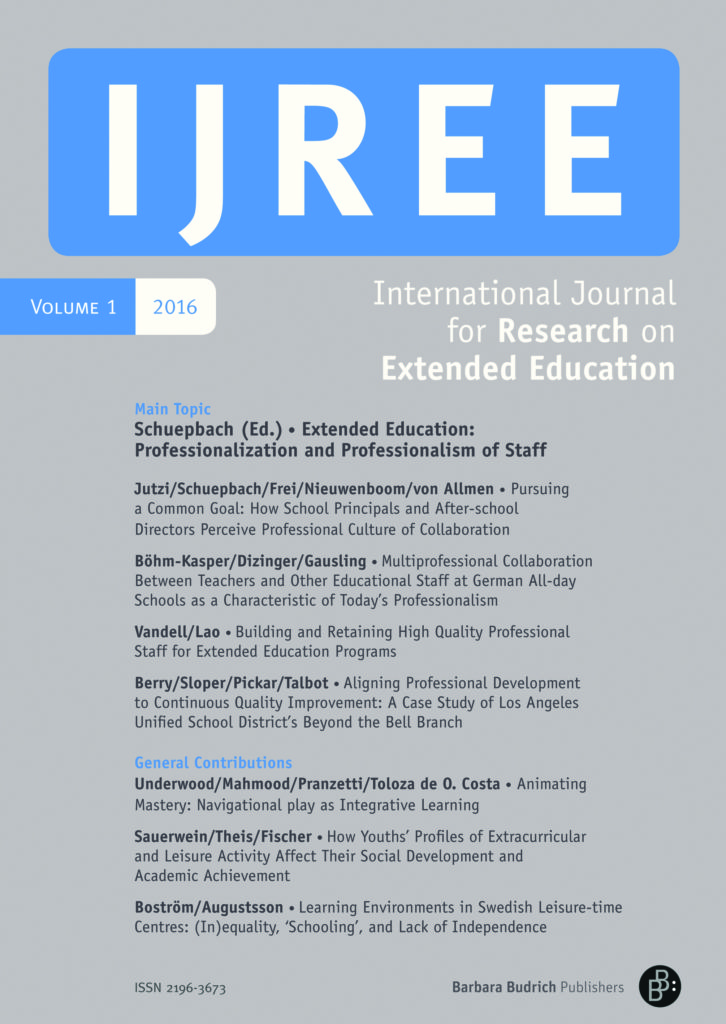 IJREE – International Journal for Research on Extended Education 1-2016: Professionalization and Professionalism of Staff