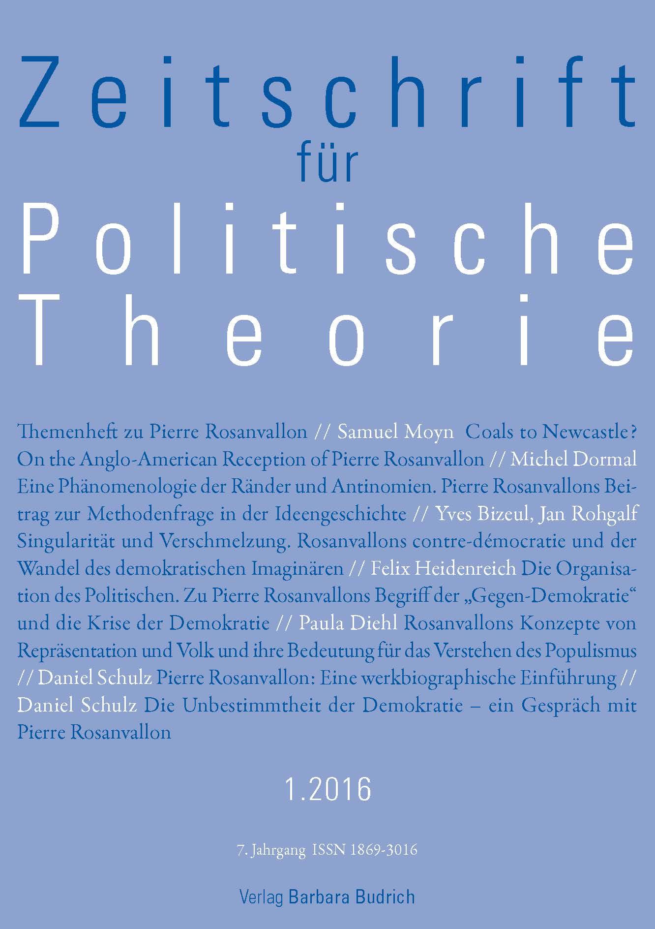 ZPTh – Zeitschrift für Politische Theorie 1-2016: Themenheft zu Pierre Rosanvallon