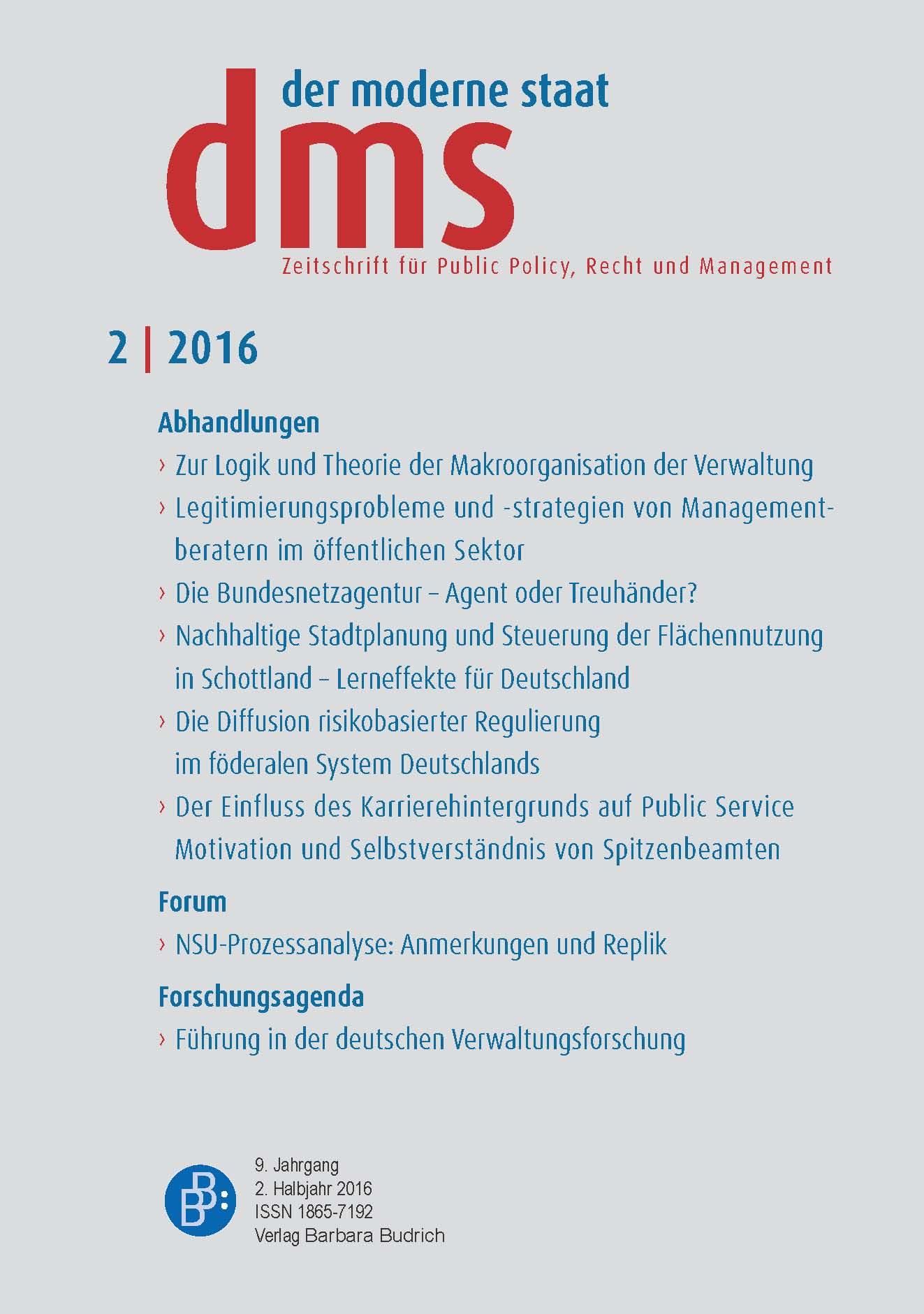 dms – der moderne staat – Zeitschrift für Public Policy, Recht und Management 2-2016: Freie Beiträge
