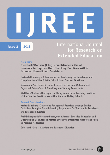 IJREE – International Journal for Research on Extended Education 2-2016: Practitioner´s Use of Research to Improve Their Practices within Extended Educational Provisions