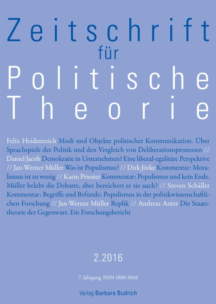 ZPTh – Zeitschrift für Politische Theorie 2-2016: Freie Beiträge