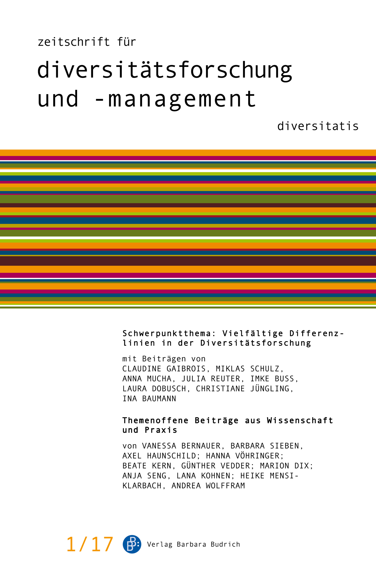 ZDfm – Zeitschrift für Diversitätsforschung und -management 1-2017: Vielfältige Differenzlinien in der Diversitätsforschung