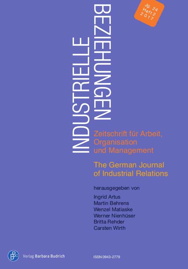 Industrielle Beziehungen. Zeitschrift für Arbeit, Organisation und Management 2-2017: Industrielle Beziehungen und Gender