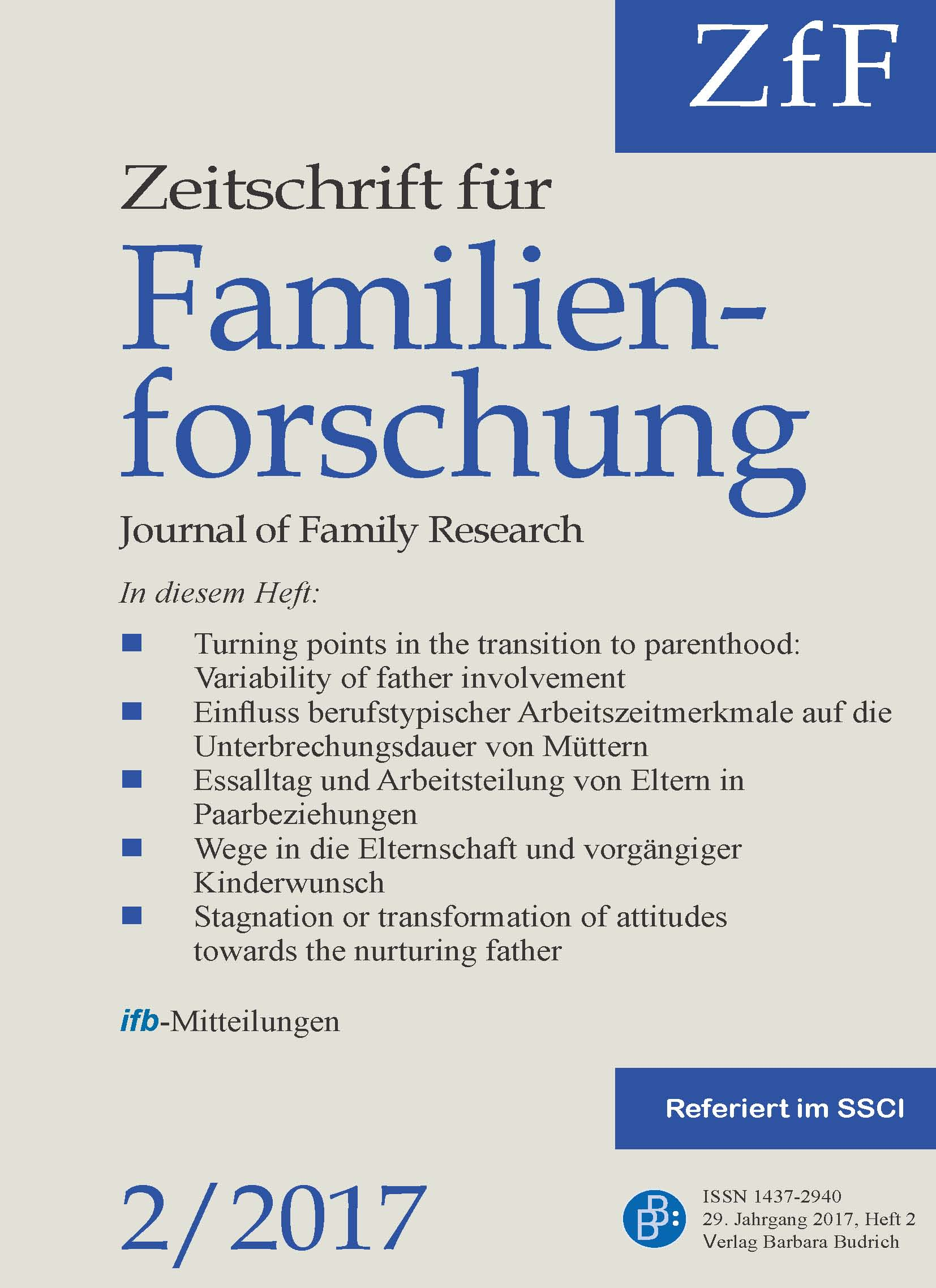 ZfF – Zeitschrift für Familienforschung / Journal of Family Research 2-2017