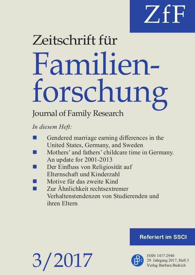 ZfF – Zeitschrift für Familienforschung / Journal of Family Research 3-2017: Freie Beiträge
