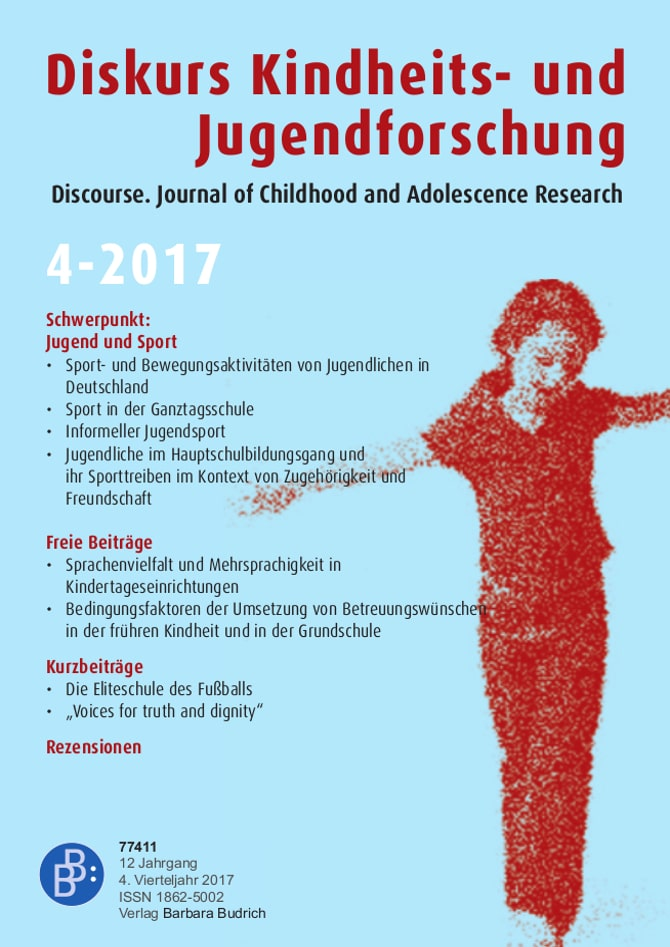 Diskurs Kindheits- und Jugendforschung / Discourse. Journal of Childhood and Adolescence Research 4-2017: Jugend und Sport
