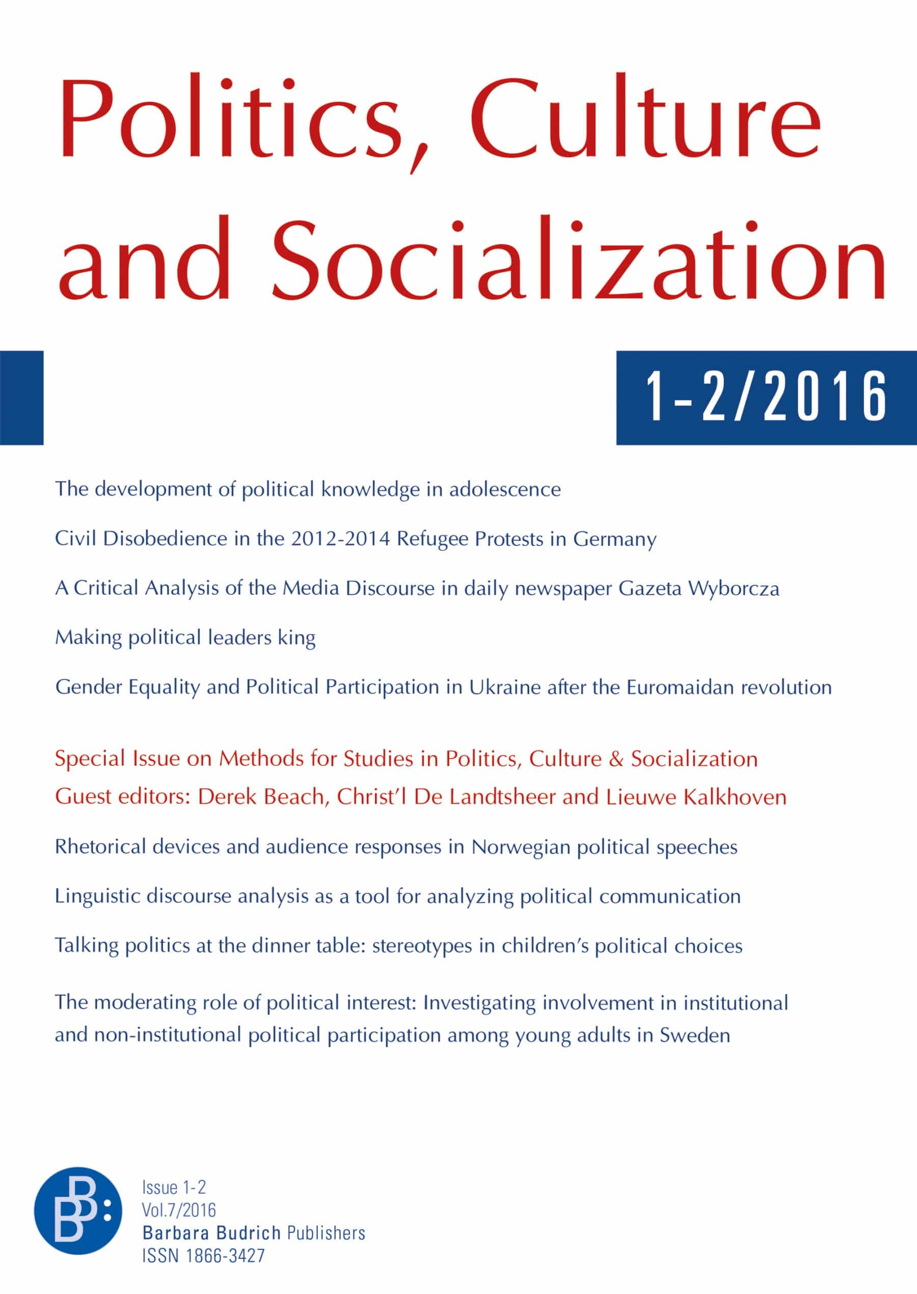 PCS – Politics, Culture and Socialization | shop.budrich-academic.de