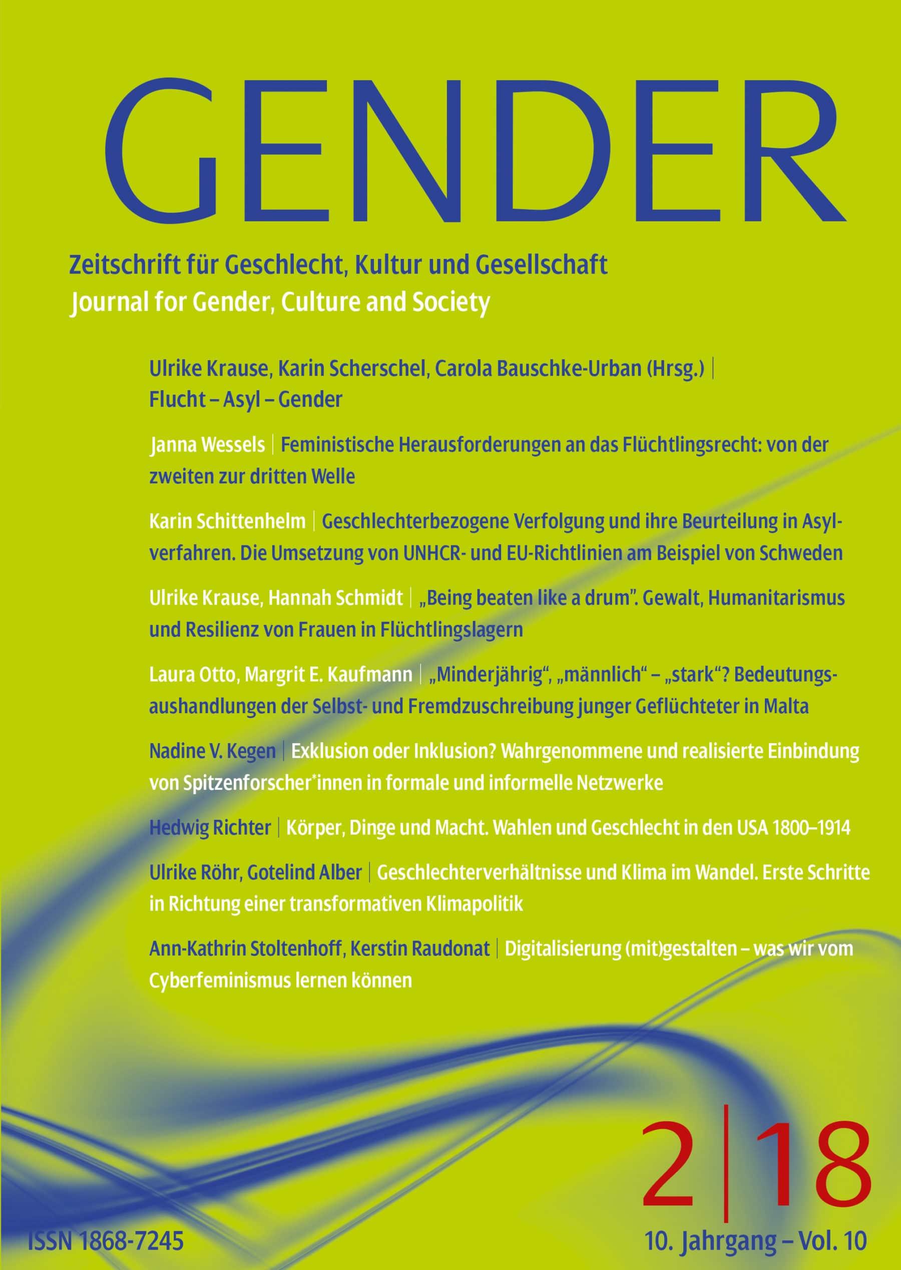 GENDER – Zeitschrift für Geschlecht, Kultur und Gesellschaft 2-2018: Flucht – Asyl – Gender
