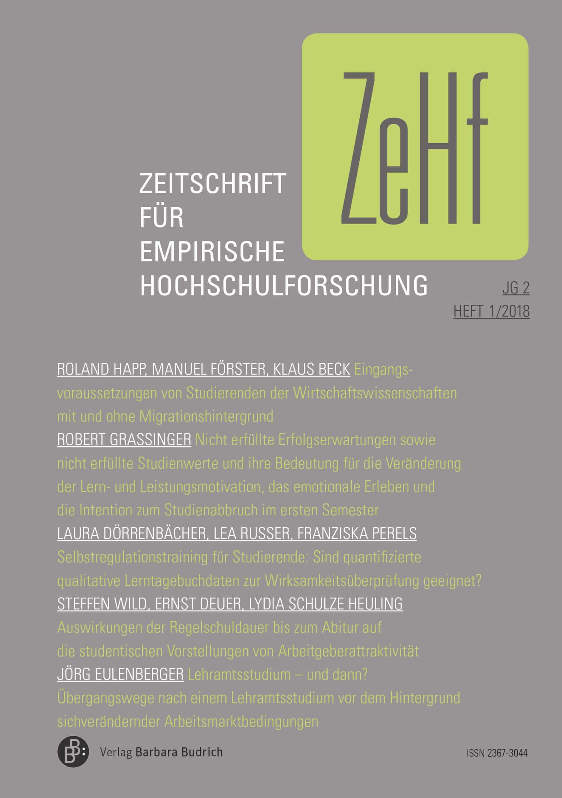 ZeHf – Zeitschrift für empirische Hochschulforschung 1-2018: Freie Beiträge