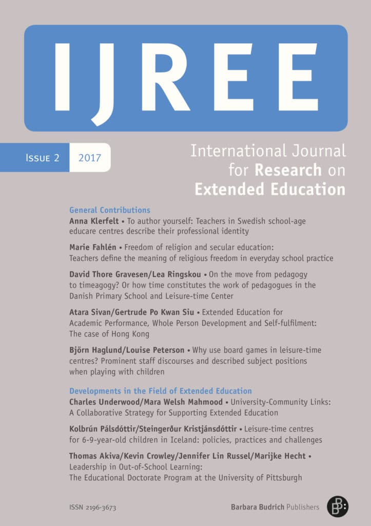 IJREE – International Journal for Research on Extended Education 2-2017: Free Contributions