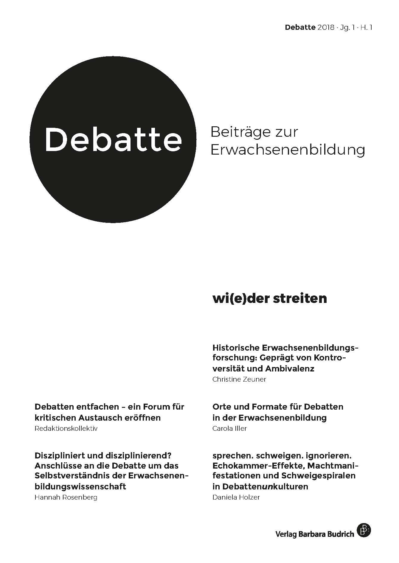 Debatte. Beiträge zur Erwachsenenbildung 1-2018: wi(e)der streiten