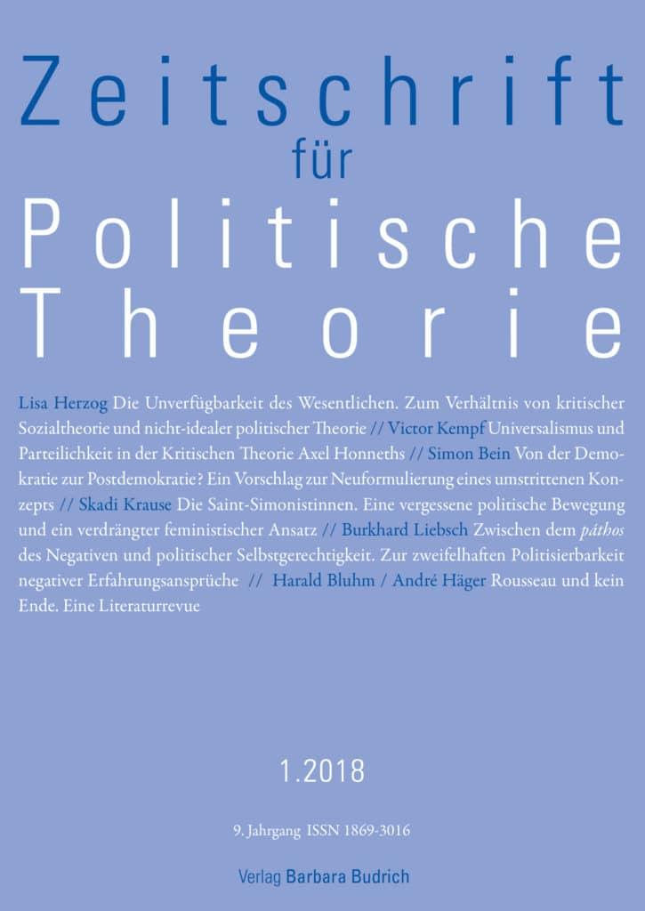ZPTh – Zeitschrift für Politische Theorie 1-2018: Freie Beiträge