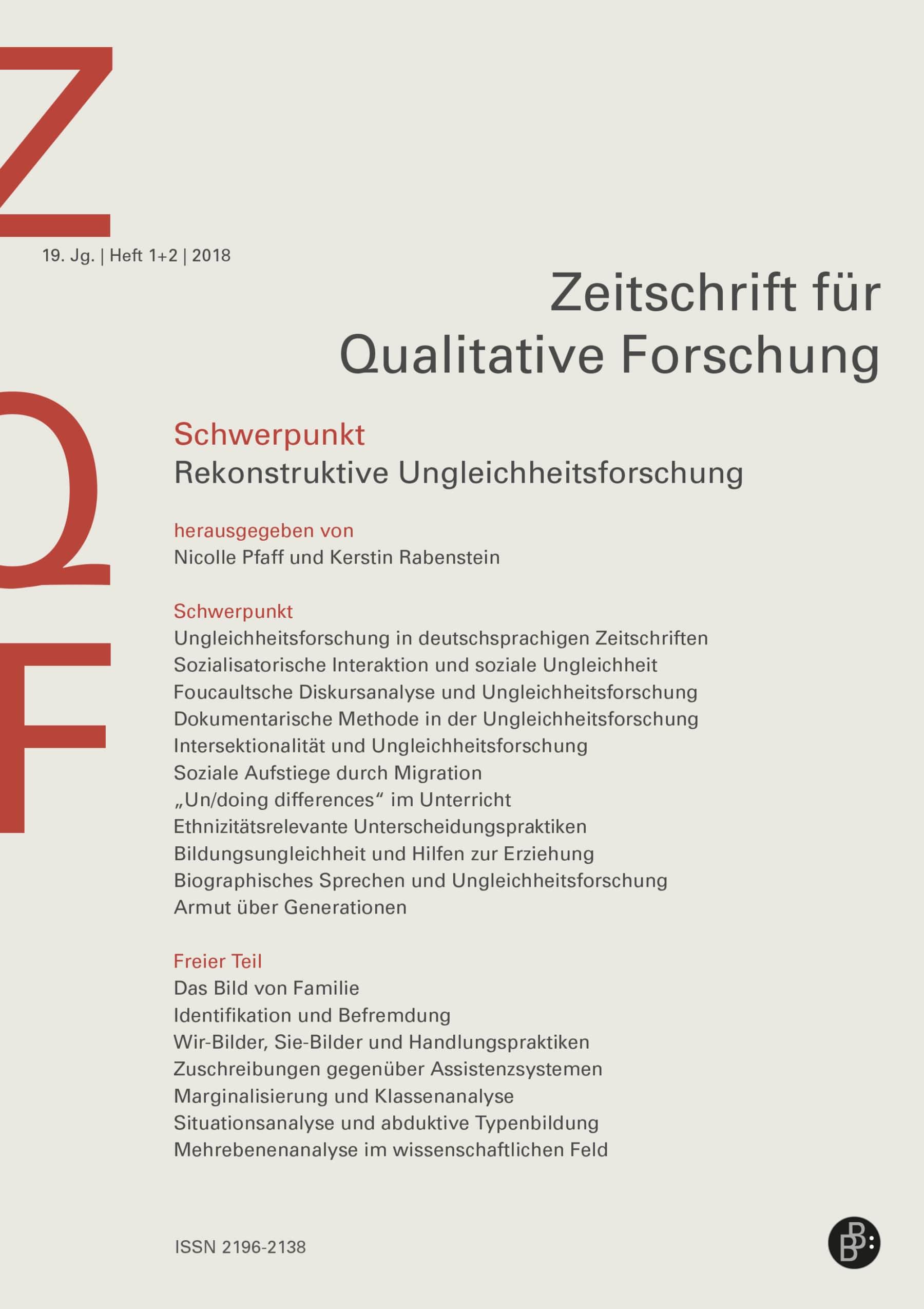 ZQF – Zeitschrift für Qualitative Forschung 1+2-2018: Rekonstruktive Ungleichheitsforschung