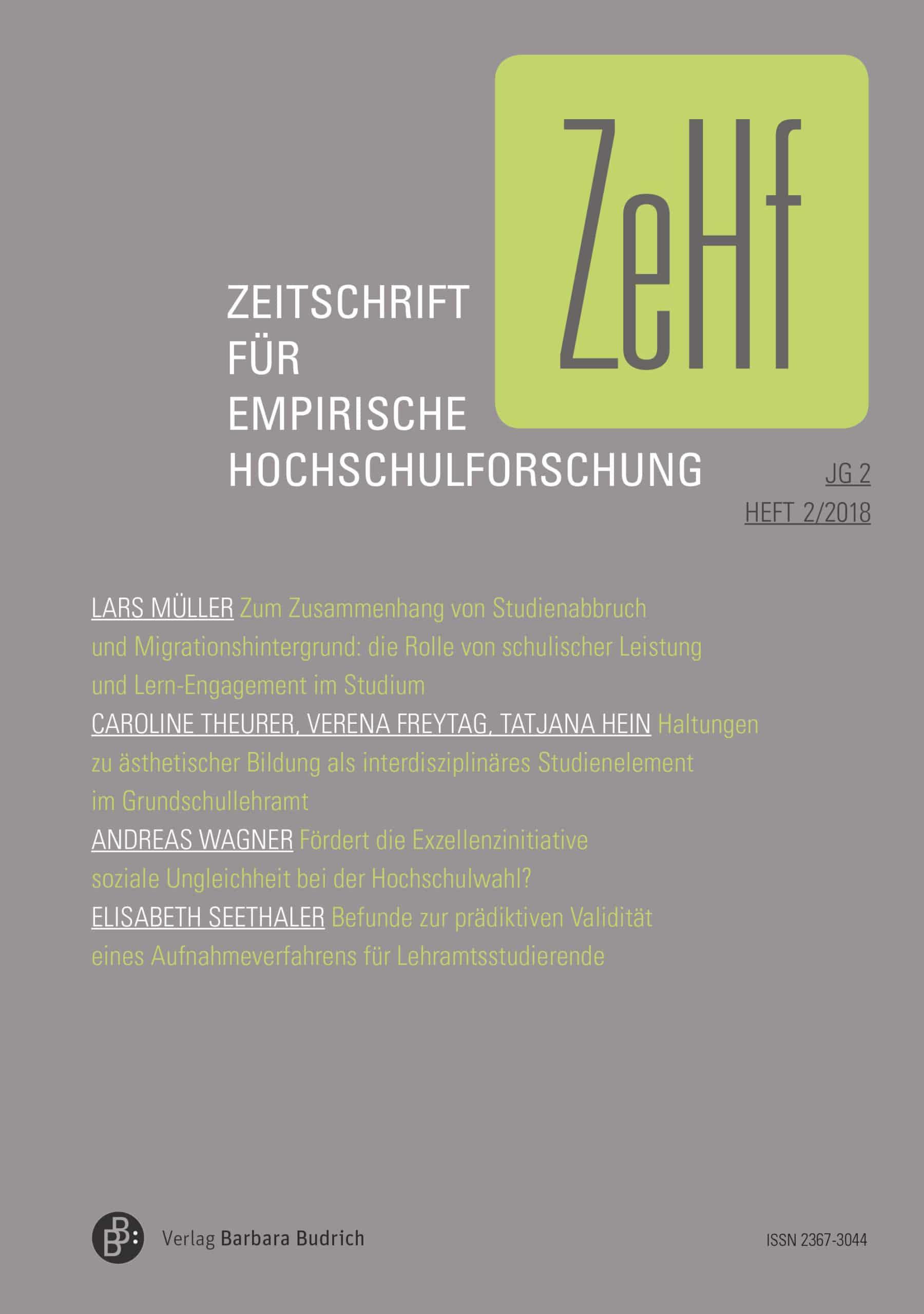 ZeHf – Zeitschrift für empirische Hochschulforschung 2-2018: Freie Beiträge