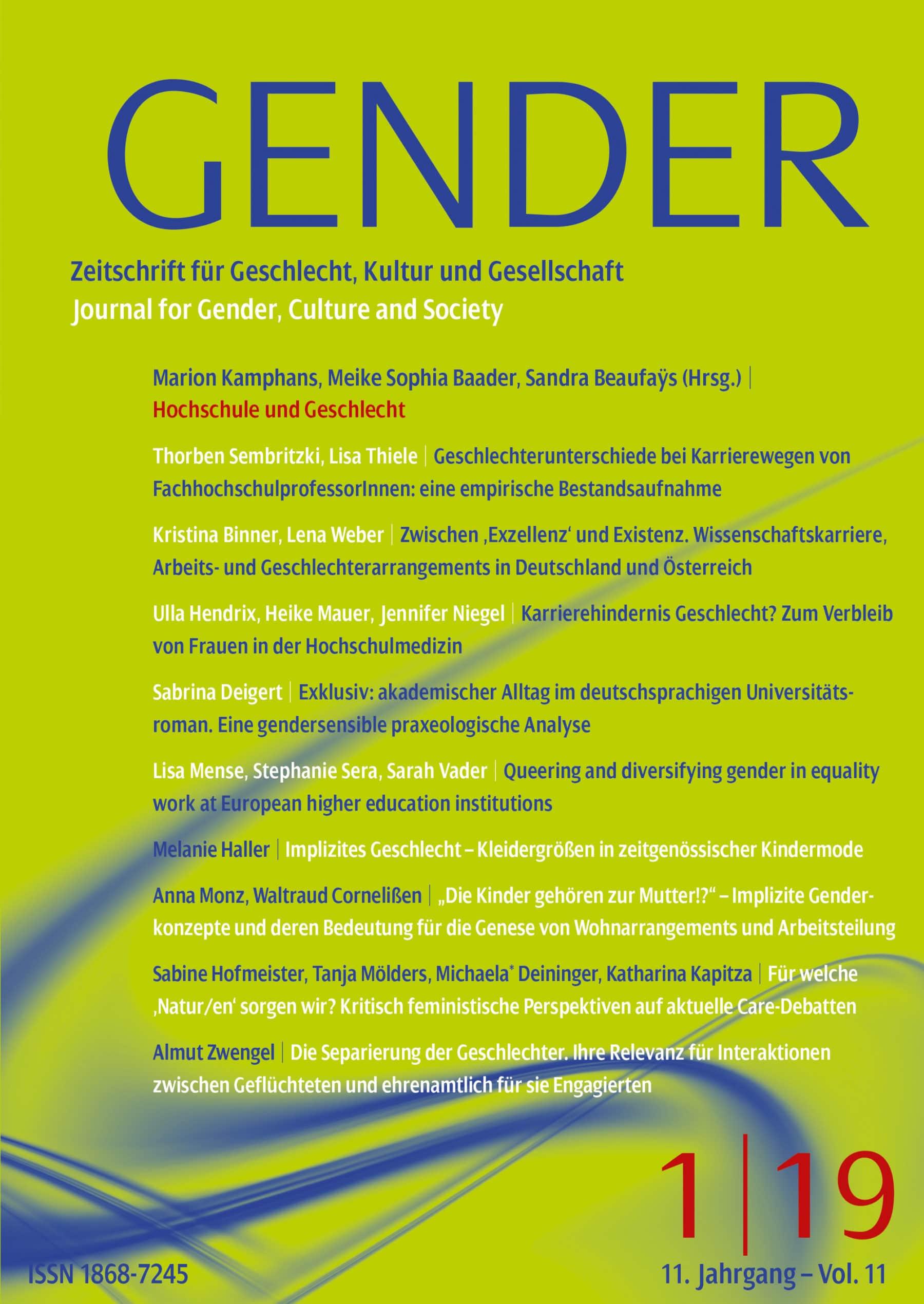 GENDER – Zeitschrift für Geschlecht, Kultur und Gesellschaft 1-2019: Hochschule und Geschlecht