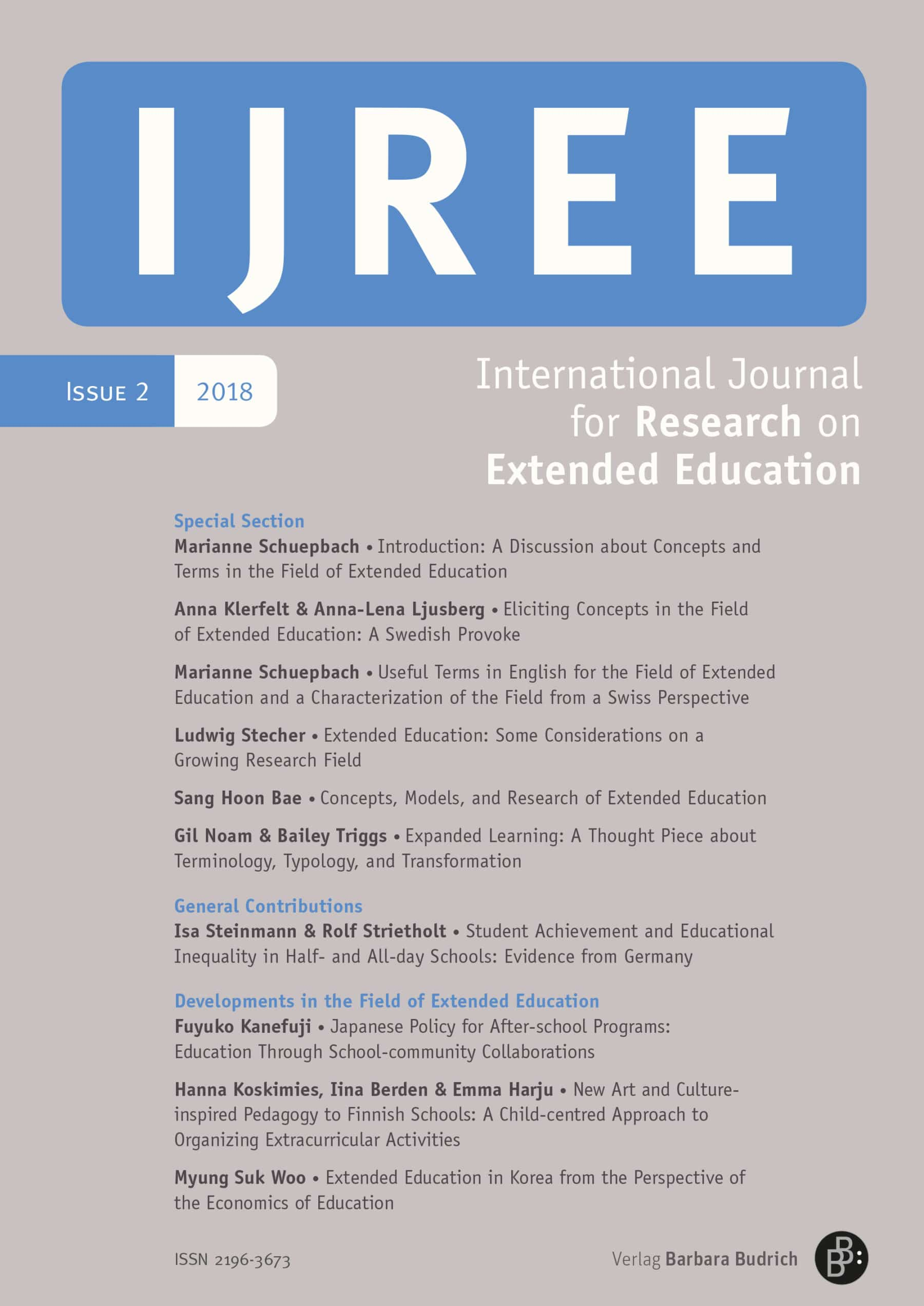 IJREE – International Journal for Research on Extended Education 2-2018: Free Contributions