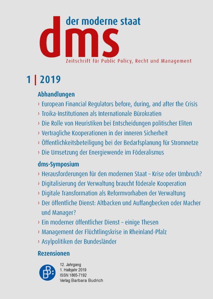 dms – der moderne staat – Zeitschrift für Public Policy, Recht und Management 1-2019
