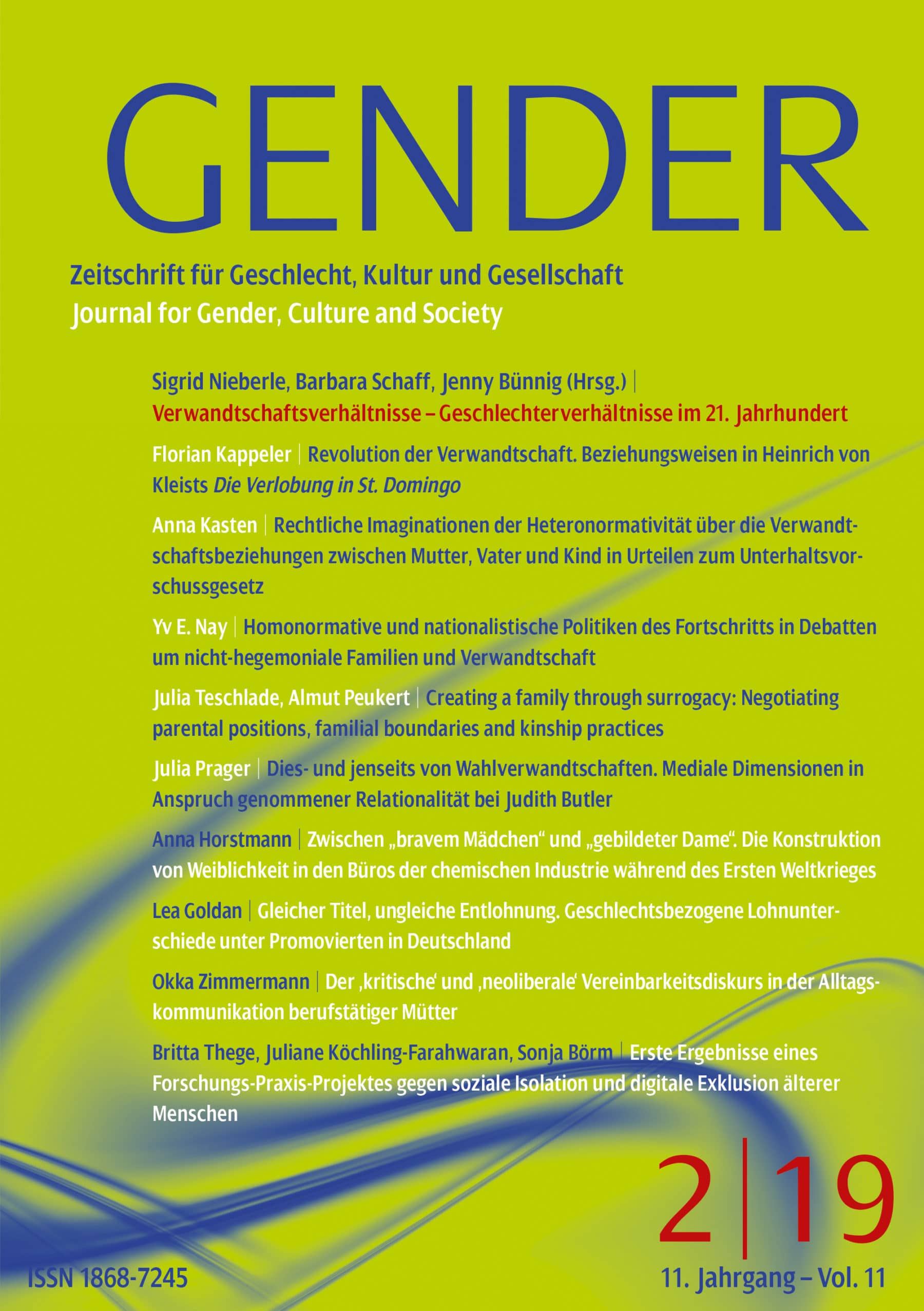 GENDER – Zeitschrift für Geschlecht, Kultur und Gesellschaft 2-2019: Verwandtschaftsverhältnisse – Geschlechterverhältnisse im 21. Jahrhundert