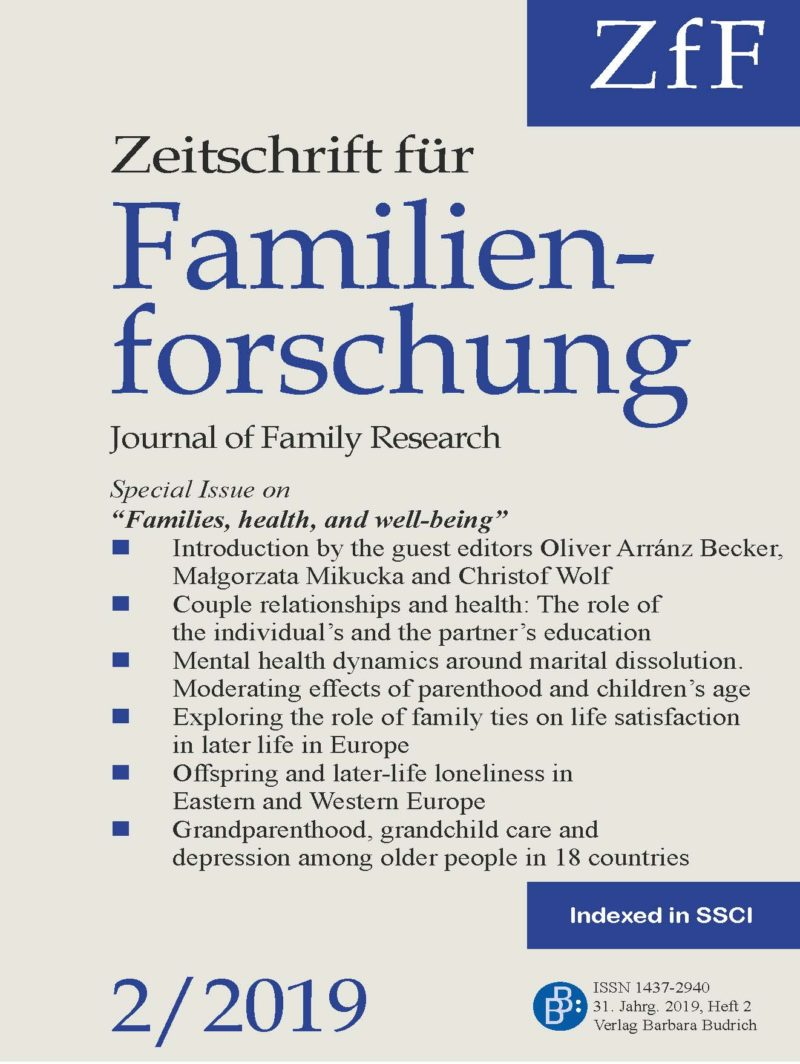 ZfF – Zeitschrift für Familienforschung / Journal of Family Research 2-2019