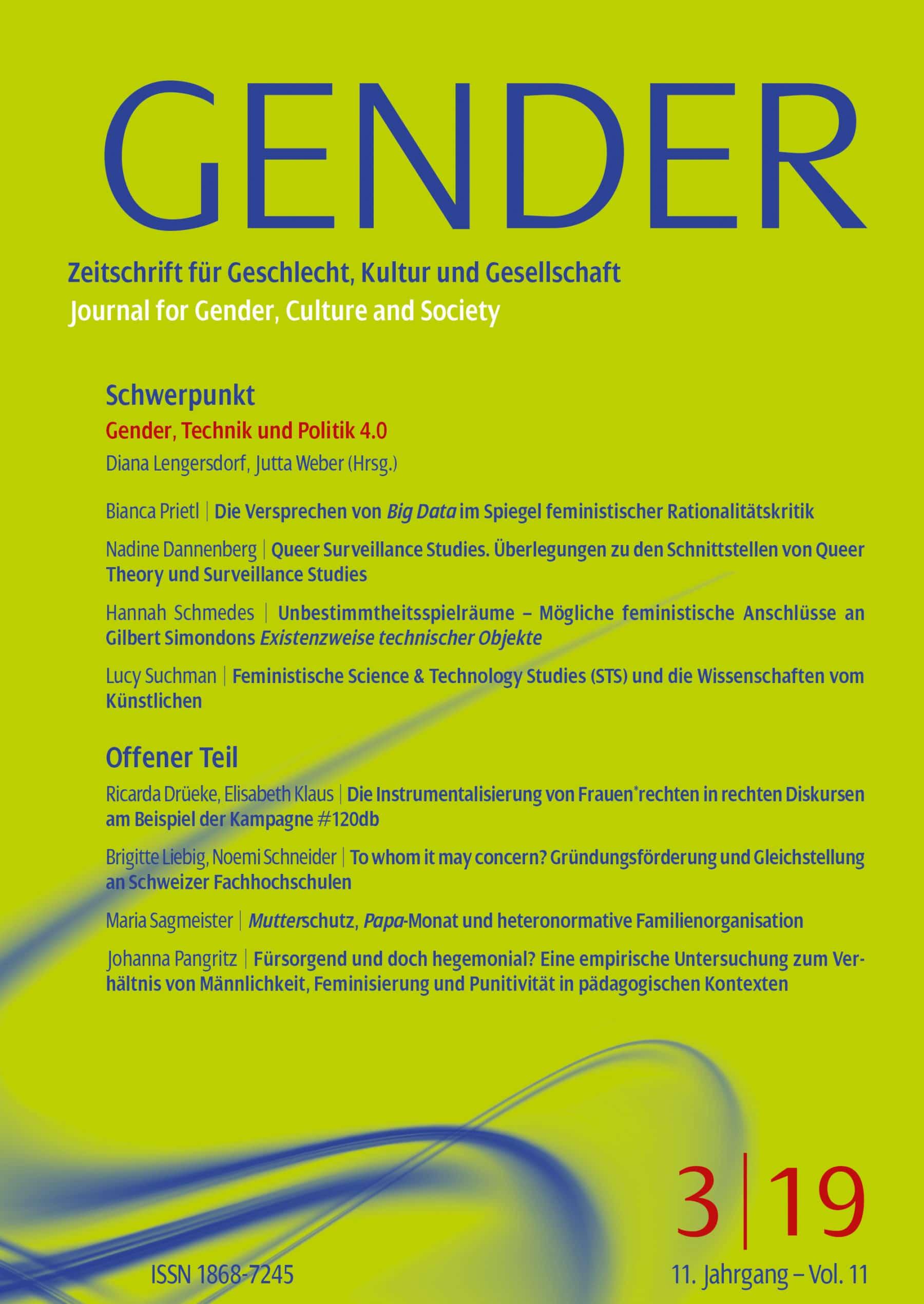 GENDER – Zeitschrift für Geschlecht, Kultur und Gesellschaft 3-2019: Gender, Technik und Politik 4.0