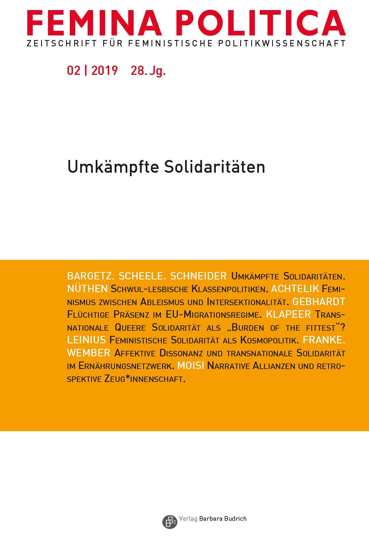 Femina Politica – Zeitschrift für feministische Politikwissenschaft 2-2019: Umkämpfte Solidaritäten