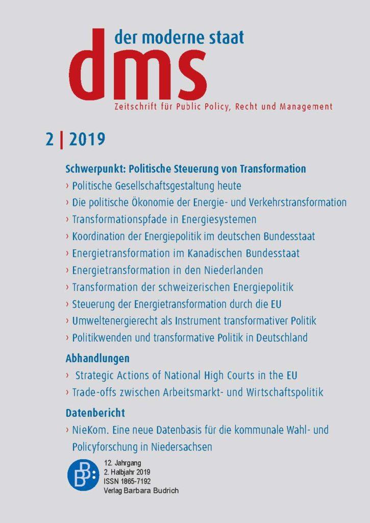 dms – der moderne staat – Zeitschrift für Public Policy, Recht und Management 2-2019: Politische Steuerung von Transformation