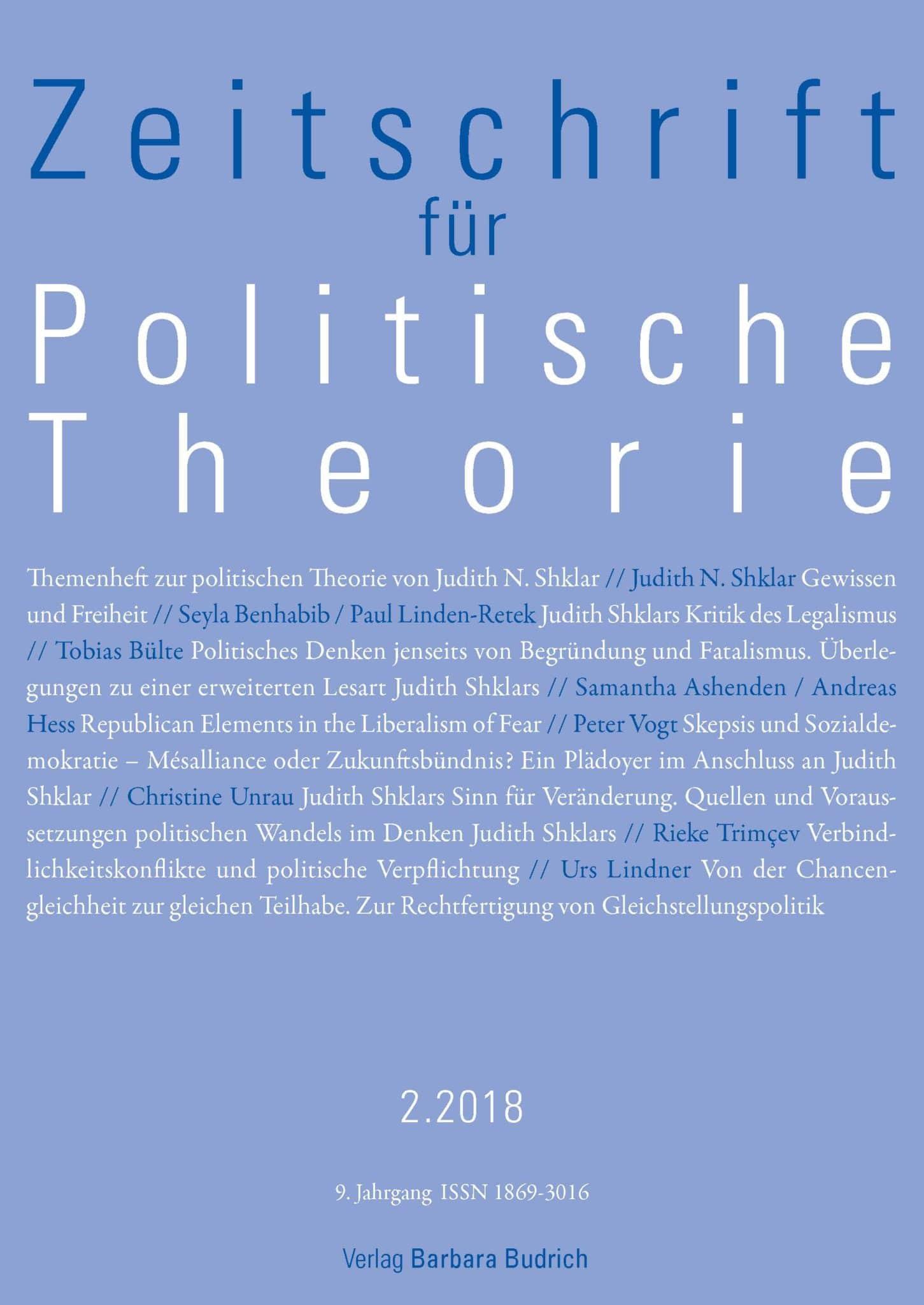 ZPTh – Zeitschrift für Politische Theorie 2-2018: Themenheft zur politischen Theorie von Judith N. Shklar