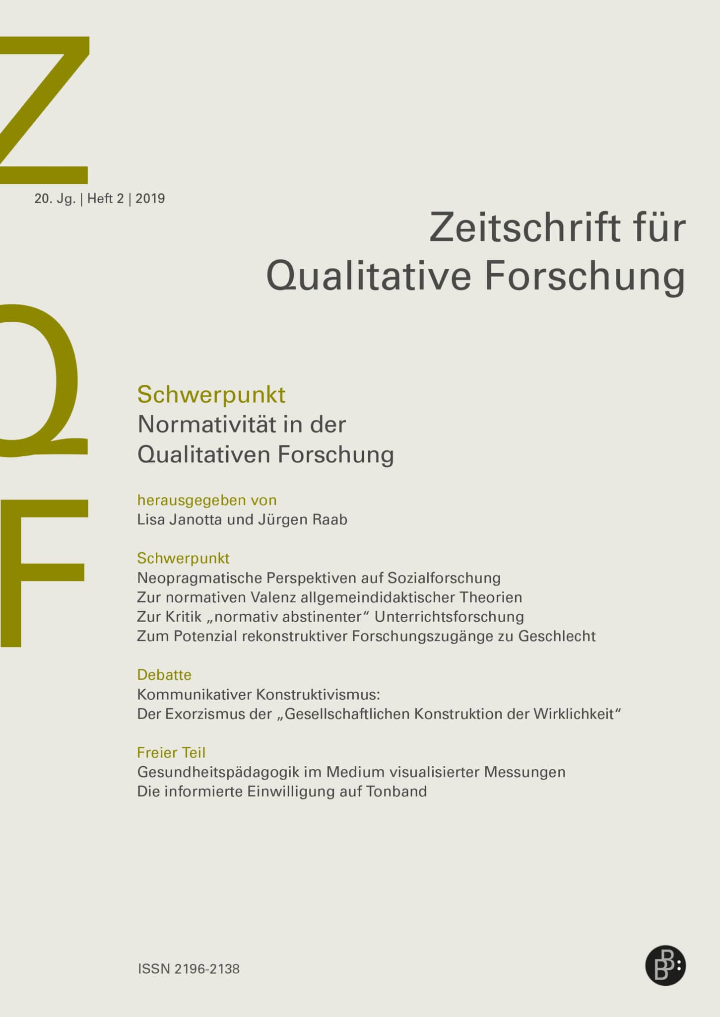 ZQF – Zeitschrift für Qualitative Forschung 2-2019: Normativität in der Qualitativen Forschung