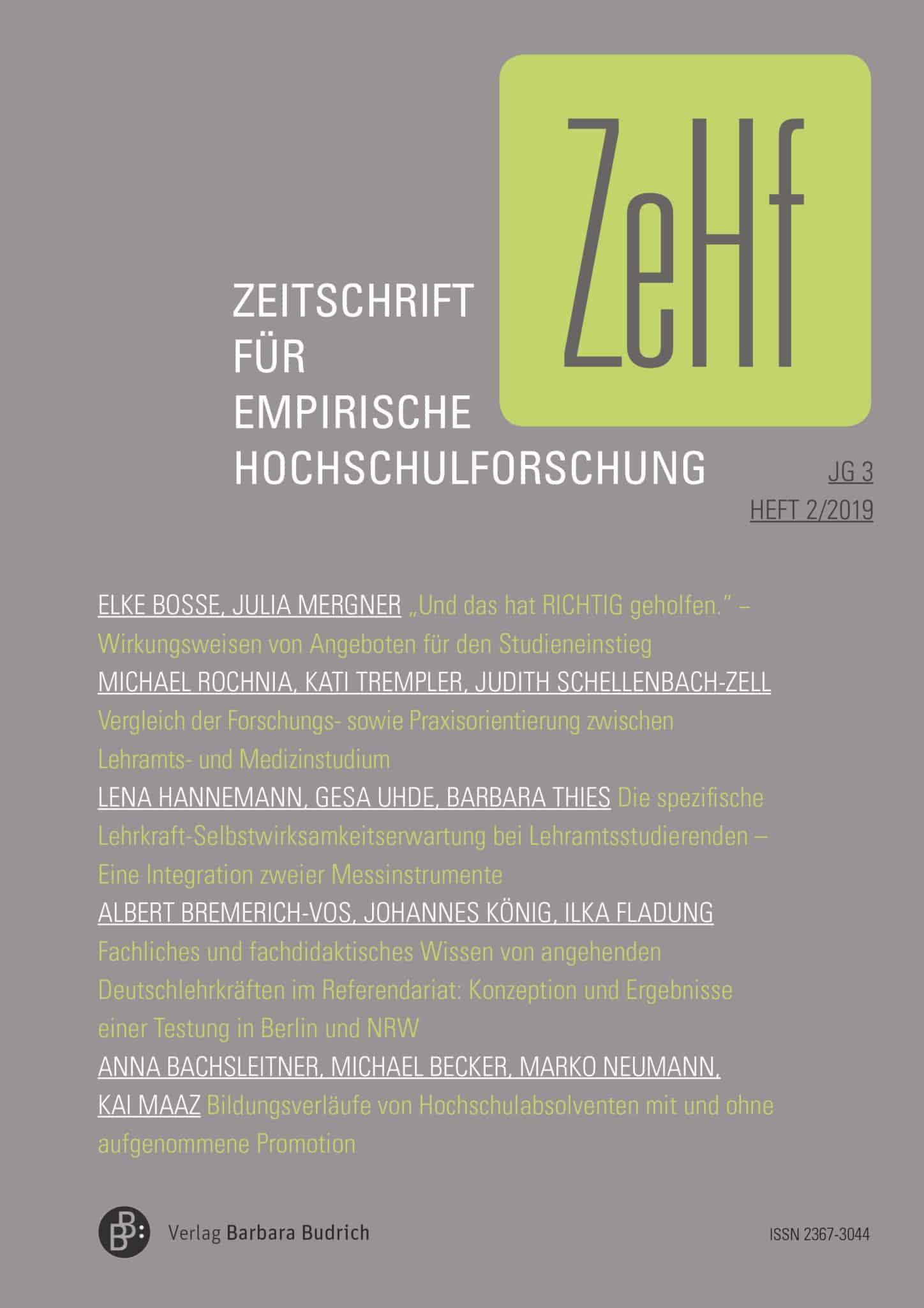 ZeHf – Zeitschrift für empirische Hochschulforschung 2-2019: Freie Beiträge