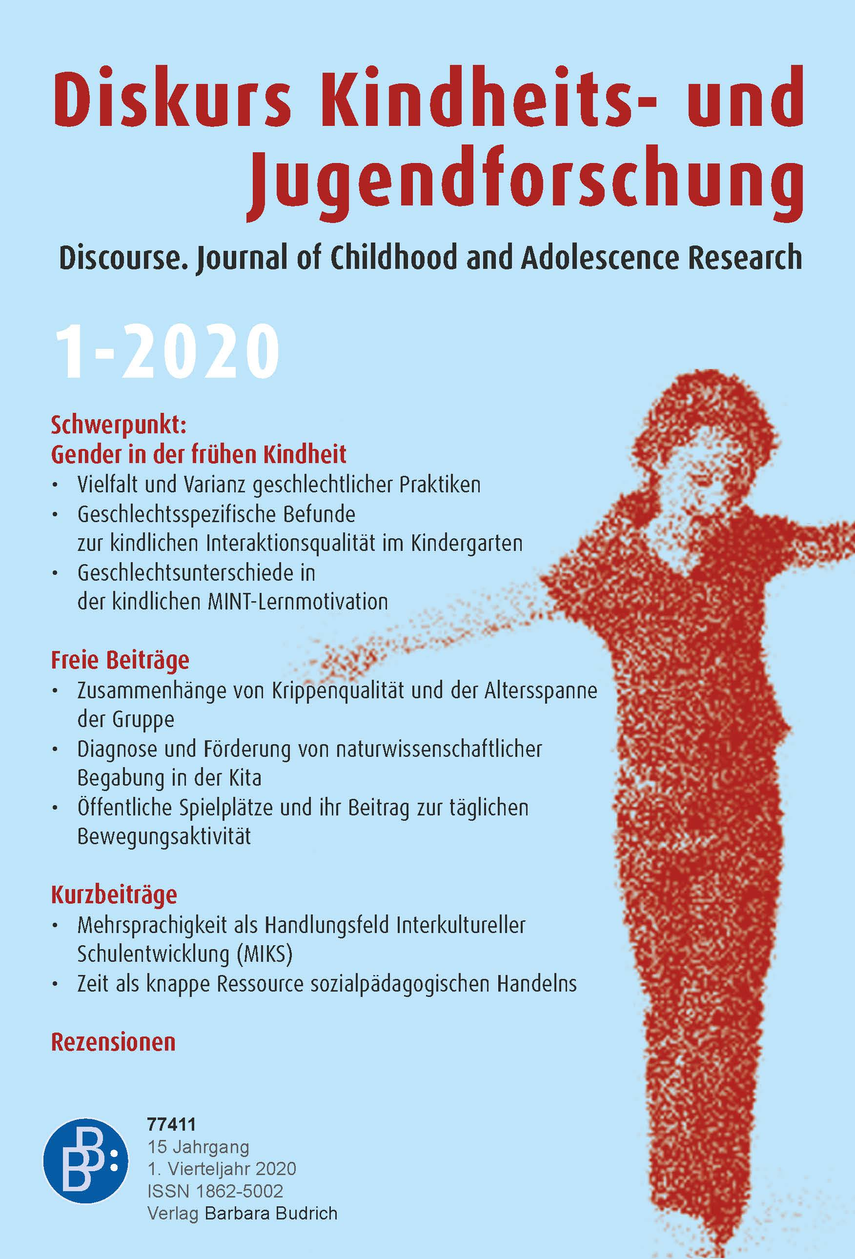Diskurs Kindheits- und Jugendforschung / Discourse. Journal of Childhood and Adolescence Research 1-2020: Gender in der frühen Kindheit