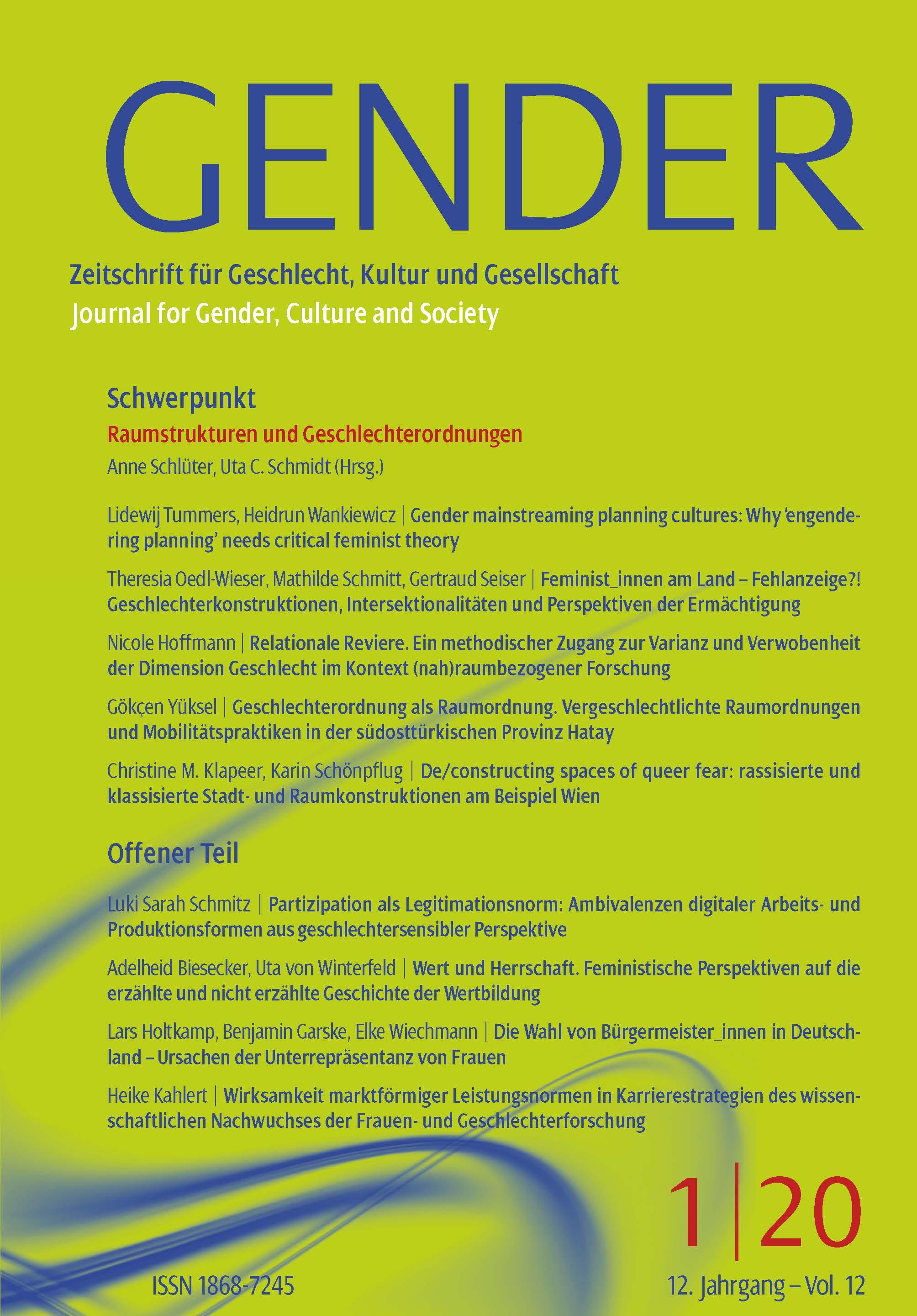 GENDER – Zeitschrift für Geschlecht, Kultur und Gesellschaft 1-2020: Raumstrukturen und Geschlechterordnungen